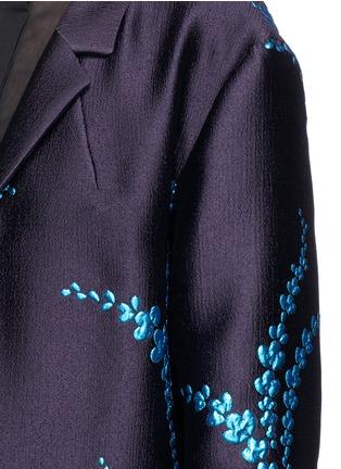 Detail View - Click To Enlarge - Dries Van Noten - 'Romance' metallic leaf jacquard open front coat