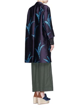 Back View - Click To Enlarge - Dries Van Noten - 'Romance' metallic leaf jacquard open front coat