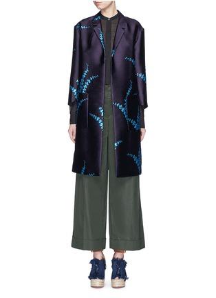 Main View - Click To Enlarge - Dries Van Noten - 'Romance' metallic leaf jacquard open front coat