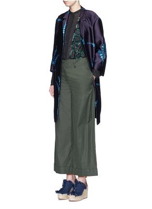 Dries Van Noten-'Romance' metallic leaf jacquard open front coat