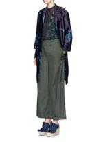 'Romance' metallic leaf jacquard open front coat