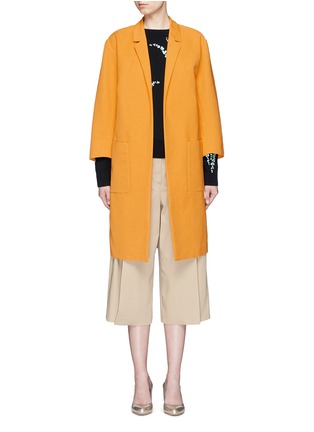 Main View - Click To Enlarge - Dries Van Noten - 'Romance' faille cropped sleeve coat