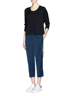 T BY ALEXANDER WANG Contrast stripe cropped satin track pants