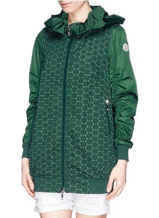 Moncler-'Foucher' San Gallo lace body nylon coat