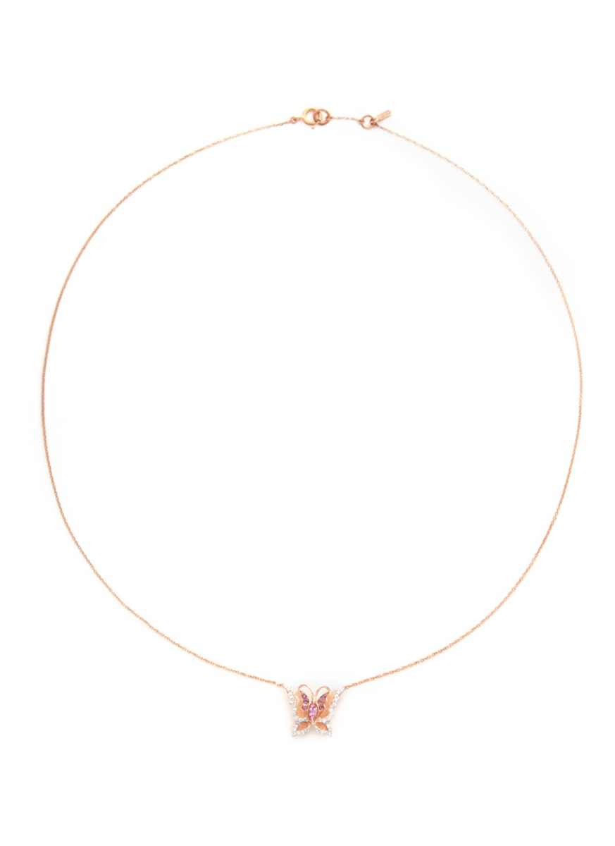 Little Butterfly 18k gold diamond necklace by Bao Bao Wan