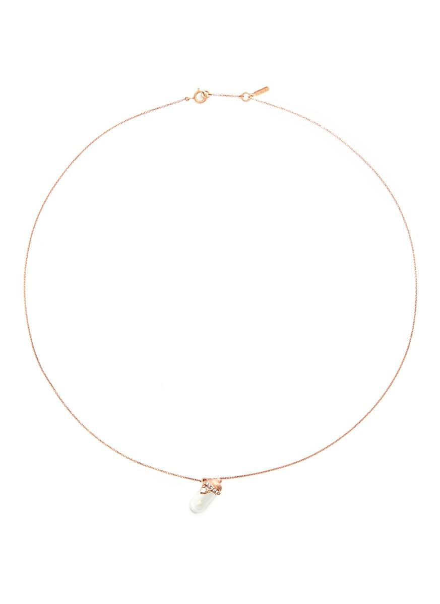 Little Baby Bottle 18k gold diamond pearl necklace by Bao Bao Wan