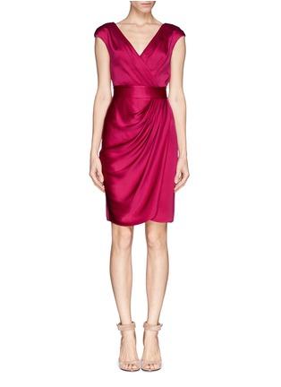 Main View - Click To Enlarge - ST. JOHN - Liquid crepe faux wrap drape dress