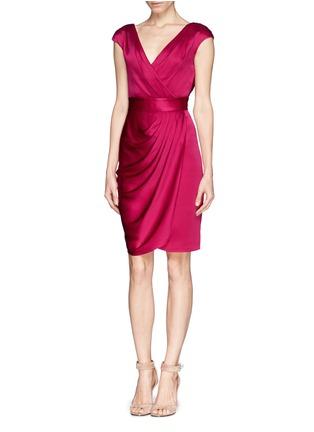 Figure View - Click To Enlarge - ST. JOHN - Liquid crepe faux wrap drape dress