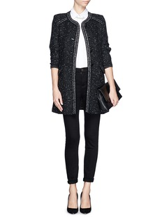 ST. JOHN Lurex trim tweed coat