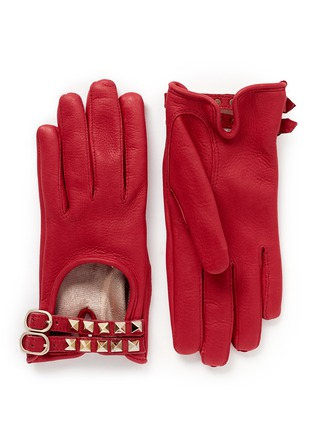 Main View - Click To Enlarge - Valentino - 'Rockstud' double strap short leather gloves