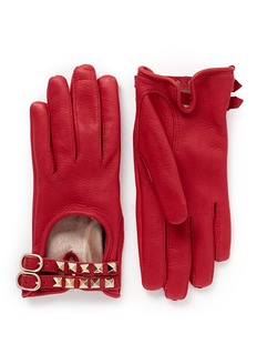 VALENTINO 'Rockstud' double strap short leather gloves