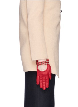 Figure View - Click To Enlarge - Valentino - 'Rockstud' double strap short leather gloves