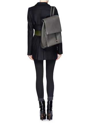 Figure View - Click To Enlarge - Marni - Top flap drawstring leather backpack