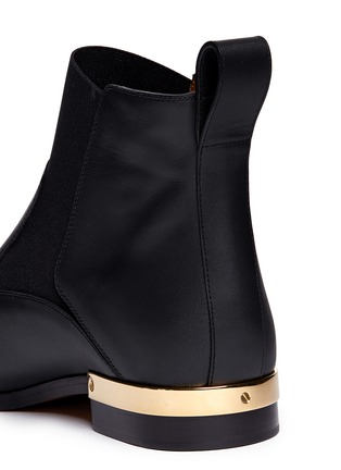Detail View - Click To Enlarge - Chloé - Metal plate heel leather Chelsea boots