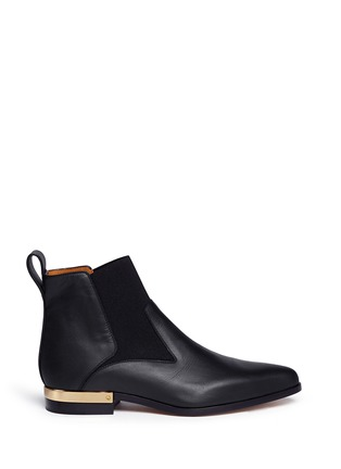 Main View - Click To Enlarge - Chloé - Metal plate heel leather Chelsea boots