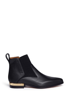CHLOÉ Metal plate heel leather Chelsea boots