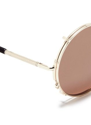 Detail View - Click To Enlarge - SUNDAY SOMEWHERE - 'Valentine' clip-on wire rim round sunglasses