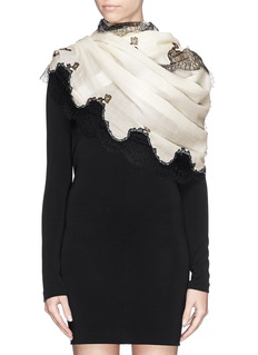 VALENTINO Lace edge wool scarf
