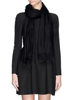 VALENTINOLace trim wool-silk scarf