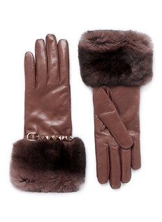 VALENTINO 'Rockstud' rabbit fur leather gloves