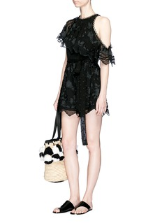 Zimmermann 'Mercer Bird Floating' embroidered silk rompers