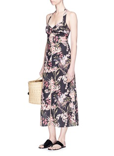 Zimmermann 'Curacao Palm' print halterneck long dress