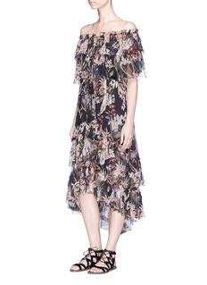 Zimmermann'Curacao Palm' print ruffle crépon silk off-shoulder dress