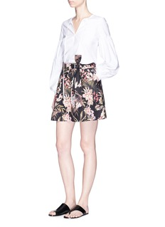 Zimmermann 'Curacao Palm' print belted linen-cotton blend shorts