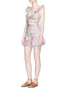 Zimmermann 'Mercer Flutter Frill' floral print cotton-linen shorts
