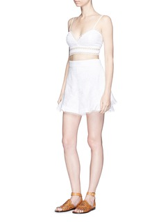 Zimmermann 'Mercer Flutter' high waist embroidered cotton shorts