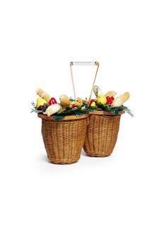 Charlotte Olympia 'Fruit Basket' wicker bag with tropical ornaments