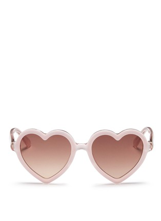 Main View - Click To Enlarge - Sons+Daughters Eyewear - 'Lola' kids acetate heart sunglasses