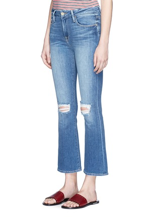 Front View - Click To Enlarge - Frame Denim - 'Le Crop Mini Boot' distressed knee flared jeans