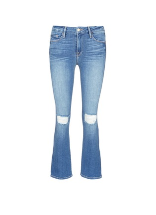 Main View - Click To Enlarge - Frame Denim - 'Le Crop Mini Boot' distressed knee flared jeans