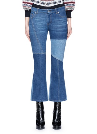 Main View - Click To Enlarge - Alexander McQueen - Patchwork cropped flared denim pants