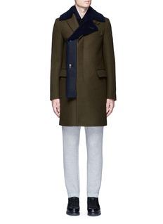 SacaiShearling underlay wool military coat