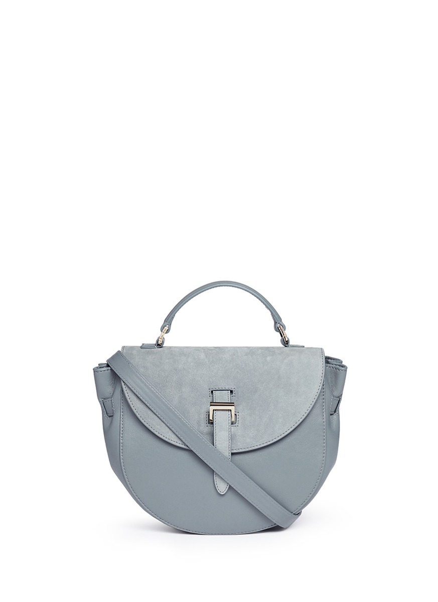 Ortensia suede flap leather saddle bag by Meli Melo