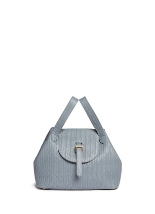 - Meli Melo - 'Thela' medium woven effect leather trapeze tote