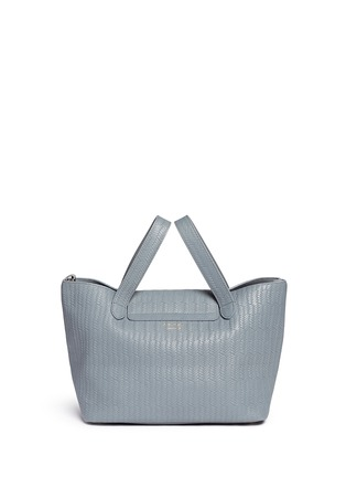 Back View - Click To Enlarge - Meli Melo - 'Thela' medium woven effect leather trapeze tote