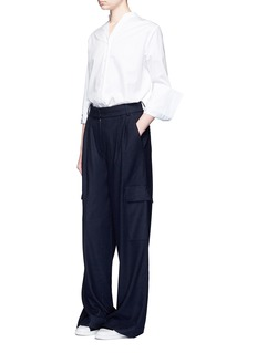Tibi 'Owen' brushed twill wide leg cargo pants