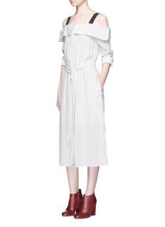 Tibi'Frederic' pinstripe cold shoulder dress
