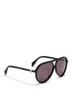 ALEXANDER MCQUEENSkull stud coated acetate oversize aviator sunglasses