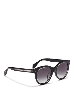 Figure View - Click To Enlarge - Alexander McQueen - Floating skull stud acetate round sunglasses