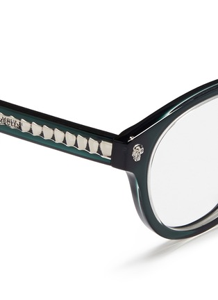 Detail View - Click To Enlarge - Alexander McQueen - Floating skull stud acetate round optical glasses