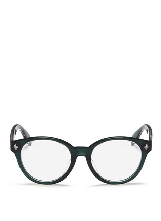 Main View - Click To Enlarge - Alexander McQueen - Floating skull stud acetate round optical glasses