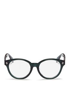 Alexander McQueenFloating skull stud acetate round optical glasses