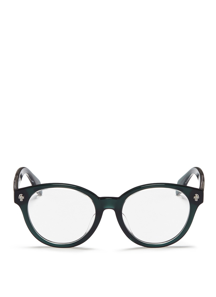Floating skull stud acetate round optical glasses by Alexander McQueen