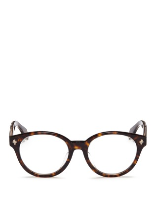 Main View - Click To Enlarge - Alexander McQueen - Floating skull stud tortoiseshell acetate optical glasses