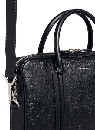 Detail View - Click To Enlarge - Givenchy - 'LC' embossed star and trident leather briefcase