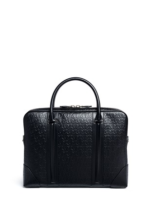 Back View - Click To Enlarge - Givenchy - 'LC' embossed star and trident leather briefcase